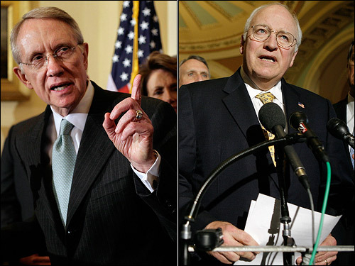As a vote on the Iraq war bill neared last week, tensions between Congress and the White House boiled over, with Vice President Dick Cheney (right) accusing Democrats of playing the war for political gain. Reid fired back by calling Cheney the administration's 'attack dog.'