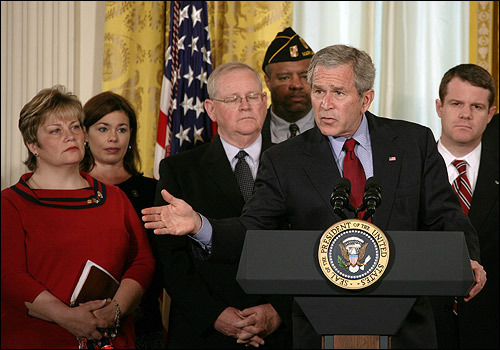Almost immediately, President George W. Bush promised to veto any war funding bill that contained benchmarks for troop pullouts. Bush said any such timetable would be tantamount to accepting defeat in Iraq, and added the bill stymied the ability of military leaders to make decisions on how to wage the war.