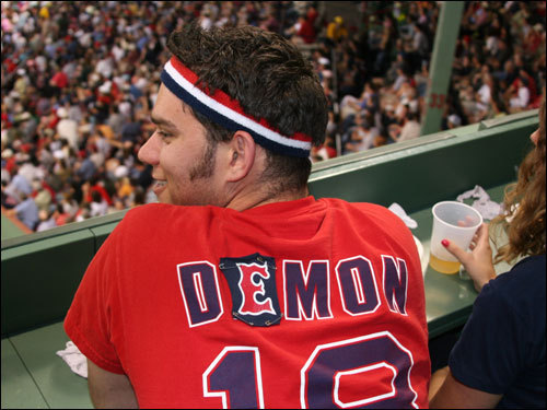 Paul Aseltine, from Quincy, has not forgotten that Johnny Damon joined the Yankees when he became a free agent. He was reminded he can stitch Matsuzaka on the back of his shirt, and it will be as good as new.