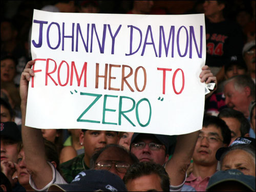 Even though it was A-Rod's big night at Fenway, Johnny Damon's leaving for New York remains a sore subject for many fans.