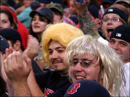 A couple of guys in the bleachers got into the A-Rod razzing spirit by sporting blond wigs to the game.