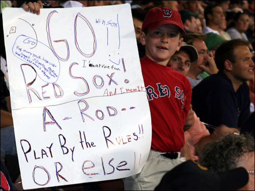 This young fan wants to remind Alex Rodriguez to play the game right after A-Rod was involved in a controversial fielding play in Toronto this week when he yelled to make the Jays' Howie Clark drop a popup.