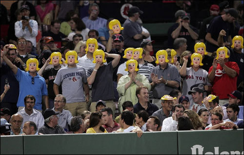 The masked Sox fans taunted A-Rod as he took his turn in the batter's box.