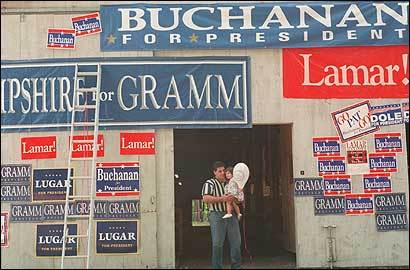 Mike Biundo is among those who worry that New Hampshire may lose its preeminence in the presidential primary process. Biundo, with his daughter Amanda, was at the New Hampshire Fair Grounds in Hopkinton in 1995 to support Pat Buchanan.