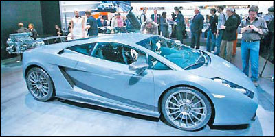 Lamborghini's Gallardo Superleggera (above) on display during the Geneva car show in March and its Murcielago LP 640 Coupe (below) in New York in April are not known for fuel economy.