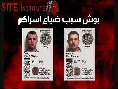 ID cards for Byron W. Fouty of Waterford, Mich., and Alex R. Jimenez of Lawrence were shown in a propaganda video.