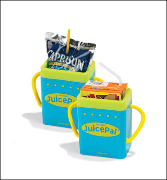 Juice Pal holders can be used with most standard juice boxes and pouches and have great little handles. You won't get showered if your kid gives one a squeeze. They cost $3.95 each through the Leaps and Bounds catalog (800-477-2189) or at leapsandbounds.com .