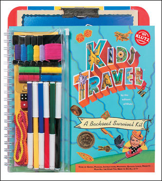 Keep bigger kids entertained with travel games. Klutz offers a wide range of kid-friendly on-the-go activities. Their Kids Travel Backseat Survival Kit for $20 is available at bookstores and at klutz.com .
