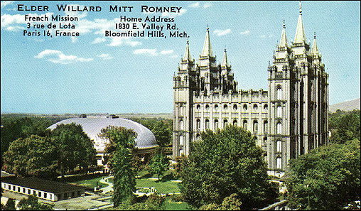 Like most Mormon men, Mitt Romney became a missionary at age 19. In the summer of 1966, he was sent by the Church of Jesus Christ of Latter-day Saints to France, where he labored for 30 months, preaching the Gospel as Mormons understand it to the people of France. His business card, shown here, included an image of the Salt Lake Temple as well as the address of the mission headquarters in Paris, and of Romney's family home in Michigan.