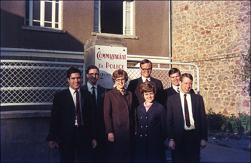 Romney and the other missionaries would often visit with local Mormons; the community was quite small in the 1960s. Romney, left, and other missionaries pose in Limoges.