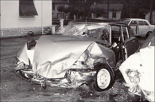 The car Romney was driving, a Citroen DS, was hit head-on by a Mercedes driven by a priest. Romney's car was totaled, and all six occupants were injured, one fatally.