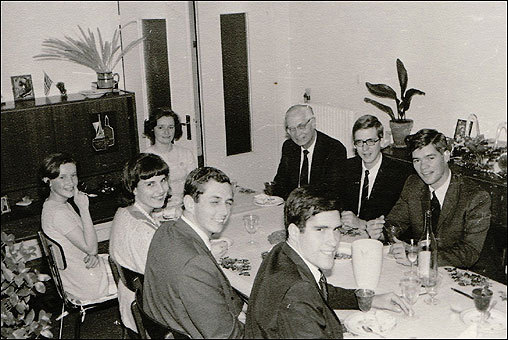 In the late 1960s, Romney and other missionaries would often dine at the home of French Mormons; here, they are at the Bordeaux home of Paulette and Andre Salarnier. Paulette, who is from Brittany, specialized in making crepes distinctive of the region, called galettes. Andre Salarnier was the caretaker of the first Mormon chapel in Bordeaux.