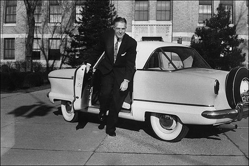 George, with his winning personality, brash intelligence, and distinguished looks, rose quickly in his business career. By age 47, he was chairman and president of American Motors and engineered its turnaround with a pioneering compact model, the Rambler.
