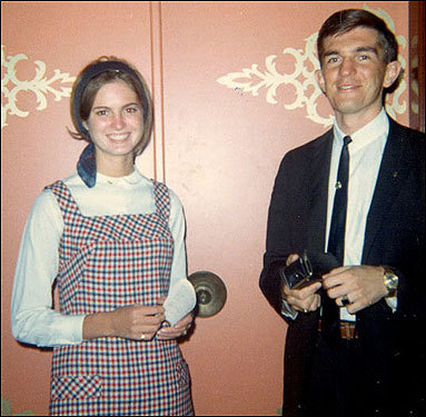 George, with the permission of the Davies family, helped guide Ann through the process of converting to Mormonism. At right is one of the US-based missionaries who led her through the conversion process in 1966.
