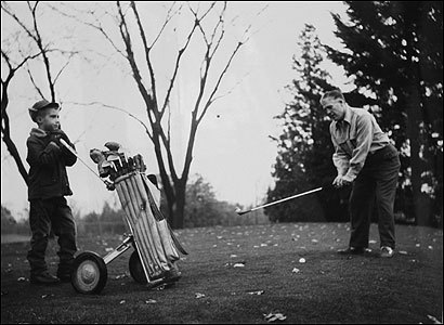Mitt Romney caddies for his restless father, George, who would play two balls at each hole so he could squeeze an 18-hole game into half the time.