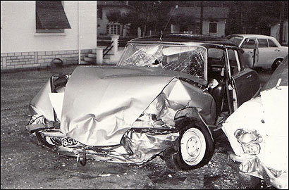 The car Mitt Romney was driving, a Citroen DS, was hit head-on by a Mercedes driven by a Catholic priest. Romney's car was totaled, and all six occupants were injured, one fatally.