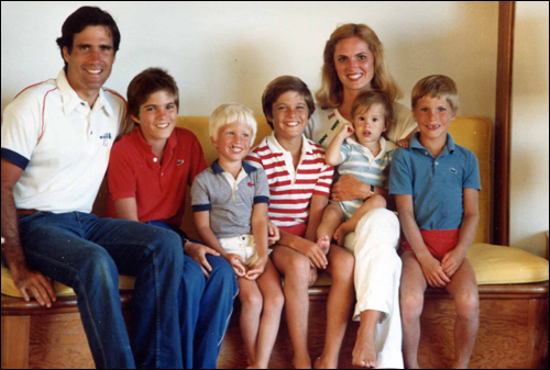 The Romney family in 1982: Mitt (left), Tagg, Ben, Matt, Craig, Ann, and Josh.