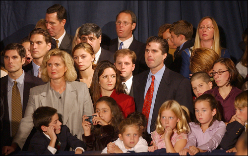 Anne Romney (far left) with members of her husband's family at a fund-raiser for Republicans in 2002.