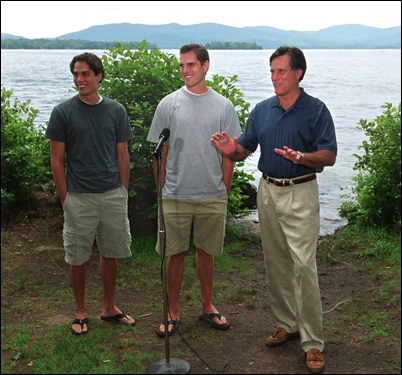Mitt Romney and his sons Josh (center) and Craig in 2003.