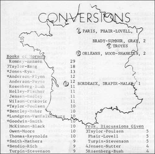 The French mission tracked how well missionaries were doing, and published statistics each week in a newsletter called the 'Conversion Diary.' The newsletters show that Romney was often at the head of the pack in terms of the number of Books of Mormon he distributed, the number of hours he spent knocking on doors, and the number of invitations he got to come back to talk with prospects.