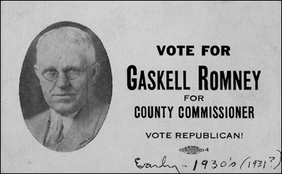 "After fleeing the Mexican revolution, Mitt Romney's grandfather, Gaskell lost his home and possessions. While living in Salt Lake City, Gaskell Romney ran for County Commissioner with the slogan by which his grandson, Mitt, abides: ""Vote Republican!"" Gaskell sued Mexico for the loss of his property and, in 1938, was awarded damages of $9,163. Half of the money went to his son, George Romney, putting the family on a solid financial footing. Gaskell and George visited Colonia Juarez on a sentimental trip in 1941. George's son, Mitt Romney, was born in 1947 and has never visited the town."