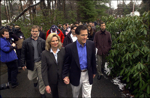 Two days after returning from Salt Lake City and the Olympics in March 2002, Mitt Romney, with his wife, Ann, made his candidacy for governor official at an impromptu press conference at the end of his driveway in Belmont.
