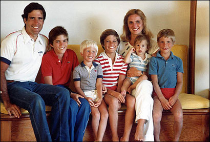 The five Romney boys each had their own profiles within the family. As Tagg would later describe his brothers, Matt was 'the jokester, always pushing people's buttons' and Josh was 'the typical middle child, wanting lots of attention and getting a lot of it.' Ben remained 'very reserved and quiet, a little aloof from the situation' while Craig relished his role as 'the ultimate baby, everyone's favorite brother.' Tagg himself was the typical oldest brother, 'Type A and too tightly wound.' From left Mitt, Tagg, Ben, Matt, Craig, Ann and Josh.