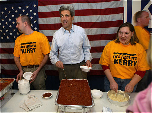 The firefighters union, including union president David Lang, has earned a reputation as the most respected, often bipartisan, and hardest-working union in the state for its candidate. In 2004, it stuck by John Kerry (left) in his dog days and helped lift him out of a slump by hosting one firehouse chili feed at a time. A recent meeting of firefighters in Portsmouth drew every presidential candidate except Barack Obama, who appeared over video and blamed his staff for the faux pas.