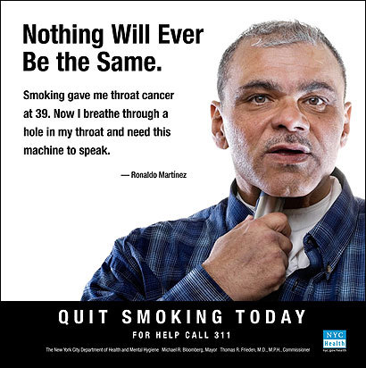 In a TV ad, Ronaldo Martinez used a tinny, robotic voice to discourage smoking.