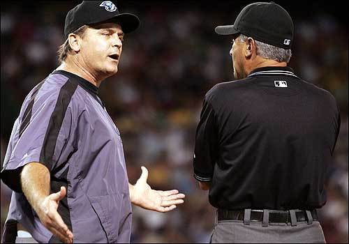 Toronto manager John Gibbons came out of the dugout for a long argument after Lugo was called safe at first in the seventh. Umpire John Hirschbeck ejected Gibbons from the game for arguing the call.