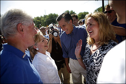 Among Republicans, Mitt Romney, (center) former Massachusetts governor, has spent the most on collecting names, $1.7 million. The highest spender among Democrats has been Senator Hillary Clinton of New York, who has paid $630,000.
