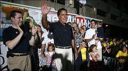 Mitt Romney celebrated in Ames with family members after winning Iowa's straw poll. He said he was 'pleased as punch.'