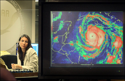 Michelle Mainelli, a hurricane specialist from the National Hurricane Center in Miami, kept an eye on Hurricane Dean as it moved toward Mexico.