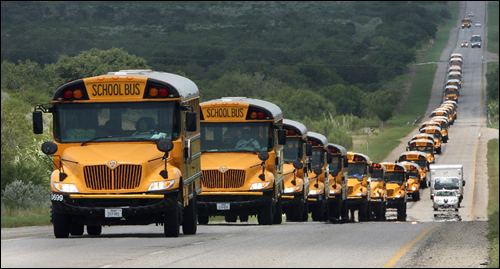 School buses were moving south Monday to the Texas valley area to prepare for an eventual evacuation because of Hurricane Dean.