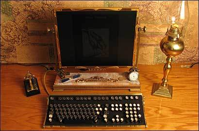 Steampunkworkshop.com's modified keyboard and flat-panel monitor.