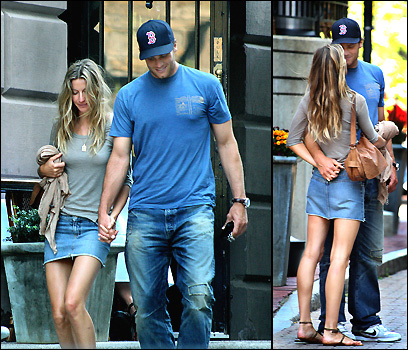 Supermodel Gisele Bundchen and Patriots Tom Brady leaving Boston Public restaurant