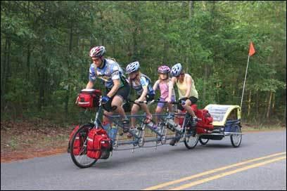 Will, Elizabeth, Anna, and Jennifer Skerrett leave Trap Pond State Park in Laurel, Del., last month.