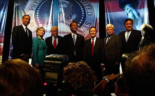 Barack Obama, Hillary Clinton, Mike Gravel, John Edwards, Dennis Kucinich, Christopher Dodd, and Bill Richardson gathered at the University of Miami in Florida Sunday night for the first presidential debate broadcast entirely in Spanish.