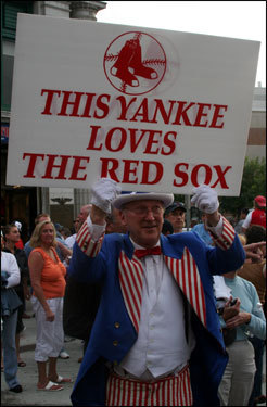 Uncle Sam was out working the crowds prior to the game. He predicted the Sox would take two out of three games and wrap up the division shortly thereafter.