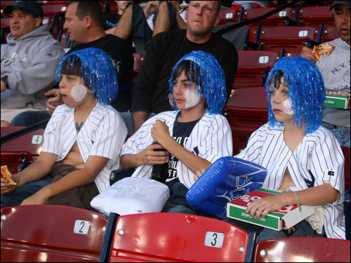 Jeremy, Matt, and Matt, from Westchester, NY broke out the blue hair wigs for their trip to Fenway. The young Yankee fans said it doesn't matter to them if the Bombers win the division or not, as long as they get to play in October.