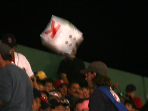 Sure there were beach balls bouncing around Fenway on Friday night, but there's also a new edition to the Dice-K experience ... the K ball, which was batted around the bleachers.