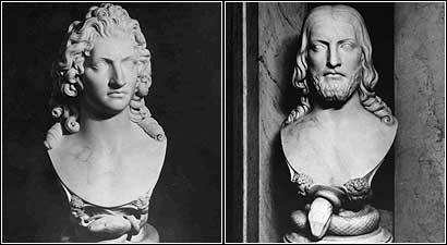 The busts of Lucifer (left) and Jesus have adorned the landing between the first and second floor since the library opened.