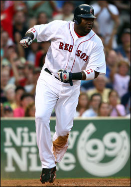 David Ortiz scored a run in the third inning against the Athletics on Wednesday.
