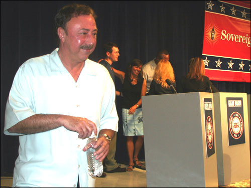 Jerry Remy left the stage after the debate was completed. Remy said he would appoint a 'regular' fan to be his vice president if elected and he would travel across the country to increase the size of the Red Sox famous fan base and keep it strong around the world. You can vote for your favorite candidate at redsox.com starting tomorrow.