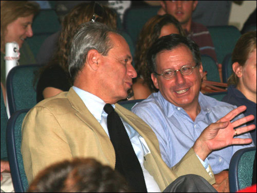 Red Sox owner Tom Werner (right) and CEO Larry Lucchino were among a number of Red Sox executives and staffers in attendance at BU's student union.