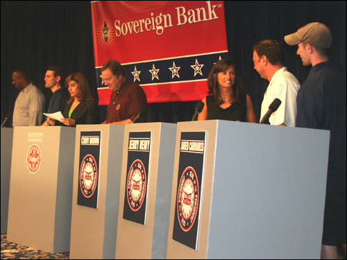 Six of the 11 final candidates attended the debate. Among the missing: Peter Gammons, Mike Barnicle, Doris Kearns Goodwin, Rich Garces, and Big Pupi, the canine candidate from Austin, Texas.