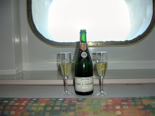 A bit of champagne aboard the ship in Southern California.