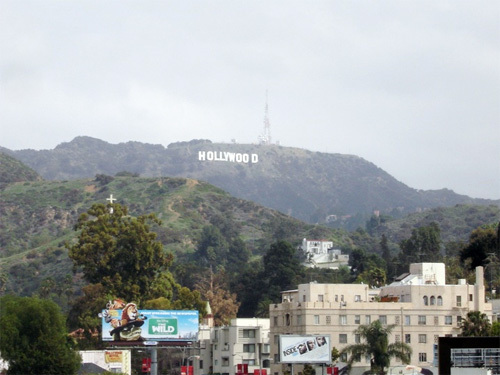 The Hollywood sign obscured by haze.