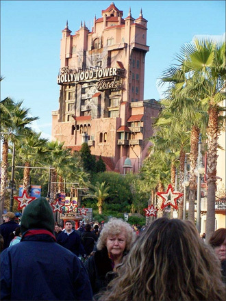 At Disney's MGM theme park, guests at The Twilight Zone Tower of Terror ride elevators up to the top of the hotel... before free-falling 13 stories.