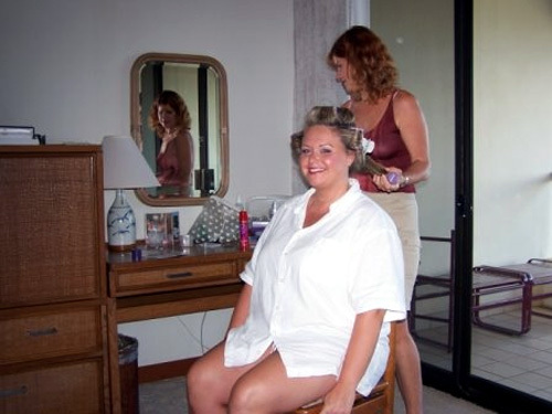 My girlfriend Becky - my maid of honor getting her hair done.